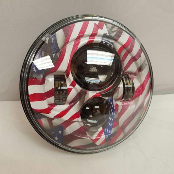7″ DAYMAKER Replacement USA American Flag Design Projector HID LED Light Bulb Headlight Motorcycle Harley