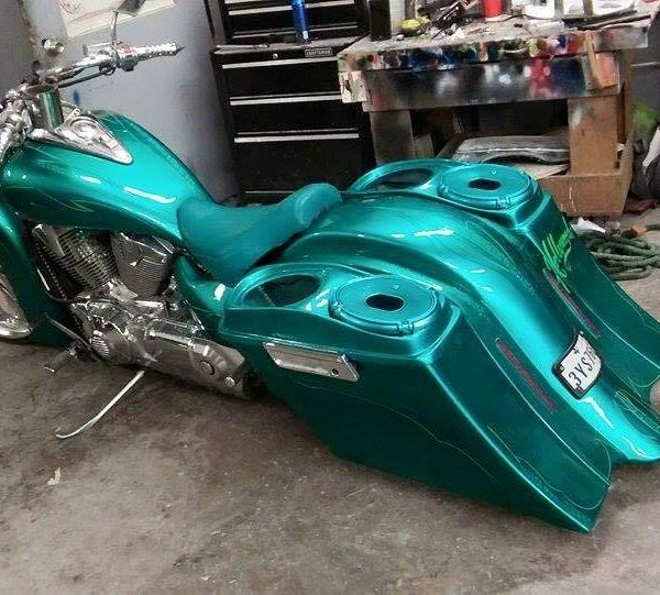 Honda VTX 1800 / 1300 6″ Extended Stretched BOLT ON Out & Down Bags Rear Fender Rails No Cut ...
