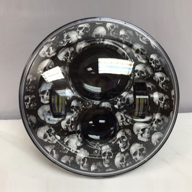 7 Daymaker Replacement Skull Fever Design Projector Hid Led Light Bulb Headlight Motorcycle