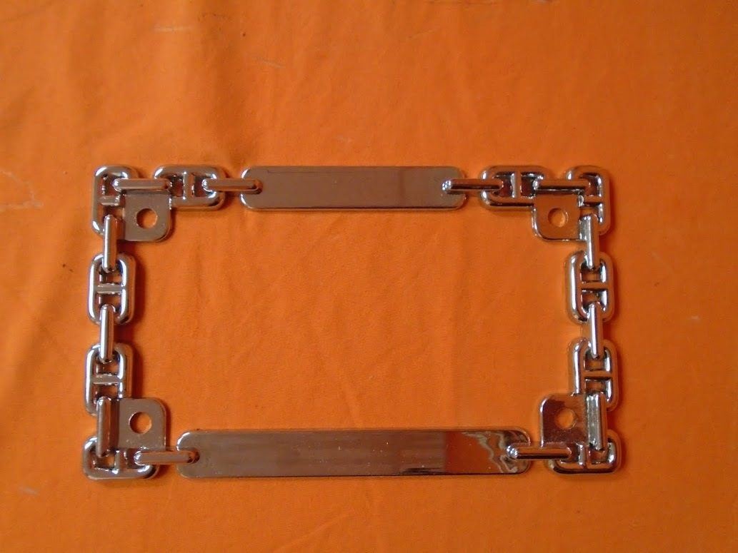 Chrome Motorcycle License Plate Frame Chain