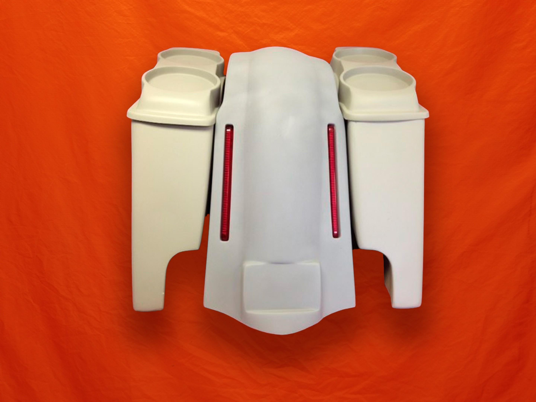Harley-Davidson-Bagger-4-inch-Stretched-Bags-Dual-6-5-Speaker-Lids-and-LED-Lights-Fender