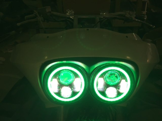 Dual 7 Daymaker Green Halo Led Replacement Road Glide