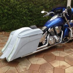 Honda Vtx 1800 1300 6 Extended Stretched Out Down Bags Rear Fender Right Side Cut Onlly No Lids