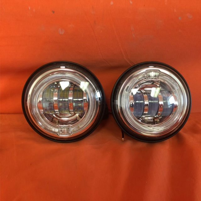 4 5 Auxiliary Daymaker Chrome Spot With Red Halo Passing Hid Led Fog