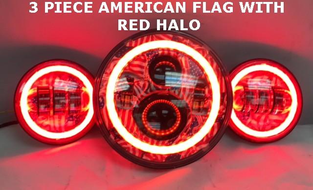 """Custom Background Daymaker Light  Bulb Harley Davidson 7/"""" Red LED Headlight"""